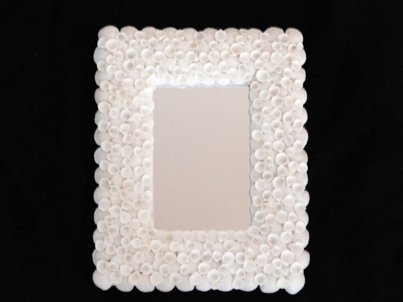 "Philippine White Cup Shell Mirror 8 3/4"" x 10 3/4"" Lot# 10232"