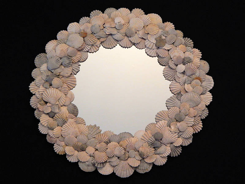"Ancient Pliocene & Miocene Chesapecten Mirror- 18"" x 18"""