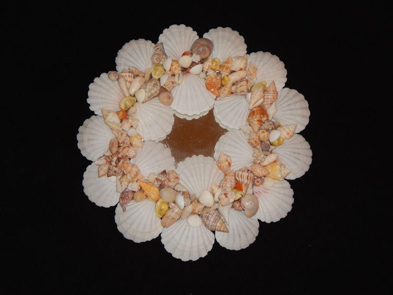 "Lovely Round White Scallop Mirror 13 7/8"" x 13 1/2""-Lot # 10293"